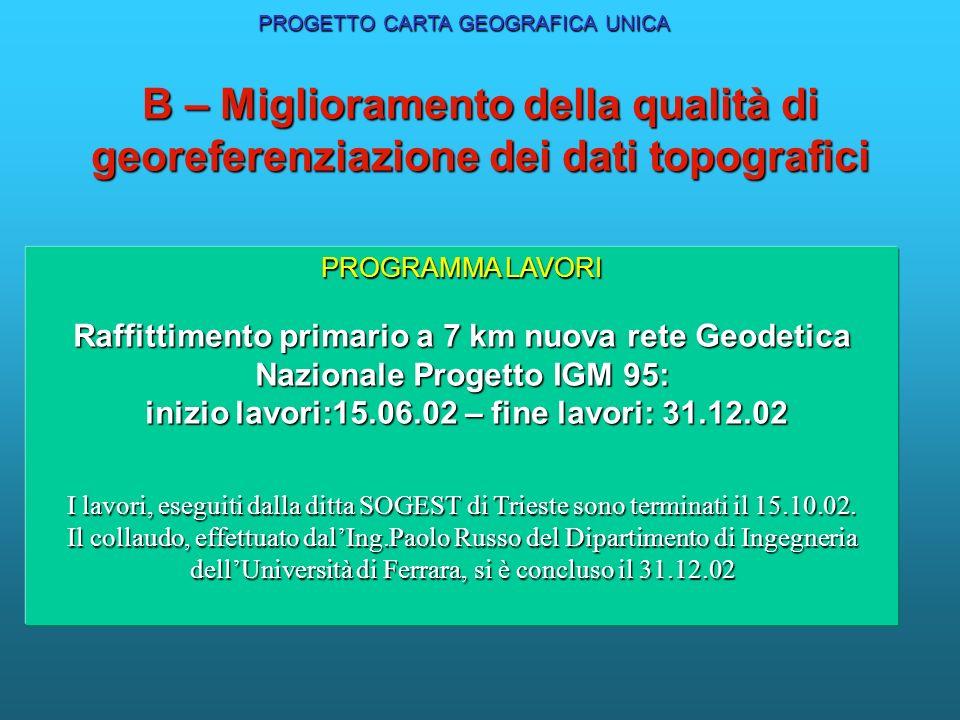 B – Miglioramento della qualità di georeferenziazione dei dati topografici PROGETTO CARTA GEOGRAFICA UNICA PROGRAMMA LAVORI Raffittimento primario a 7