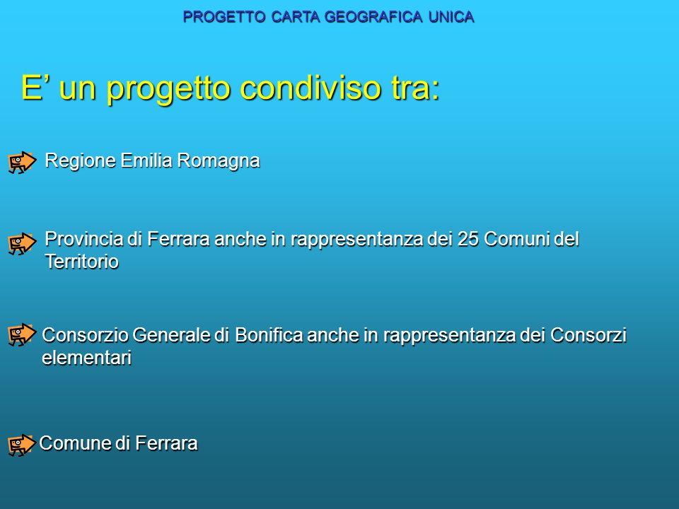 E un progetto condiviso tra: Regione Emilia Romagna Provincia di Ferrara anche in rappresentanza dei 25 Comuni del Territorio Consorzio Generale di Bo
