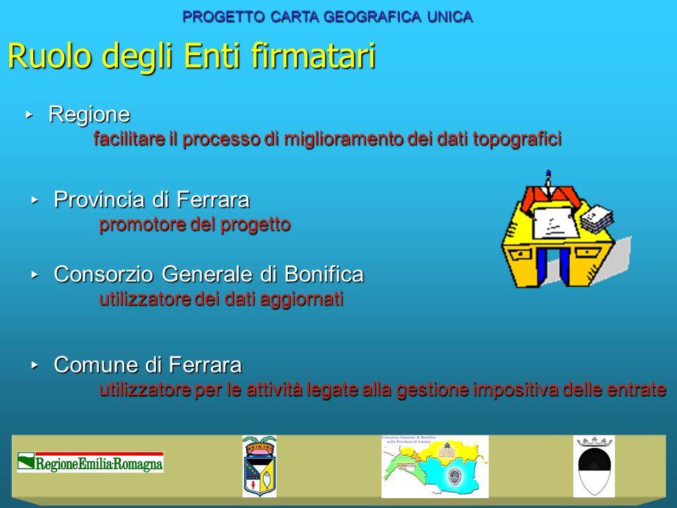 Ruolo degli Enti firmatari Regione Regione facilitare il processo di miglioramento dei dati topografici Provincia di Ferrara Provincia di Ferrara prom