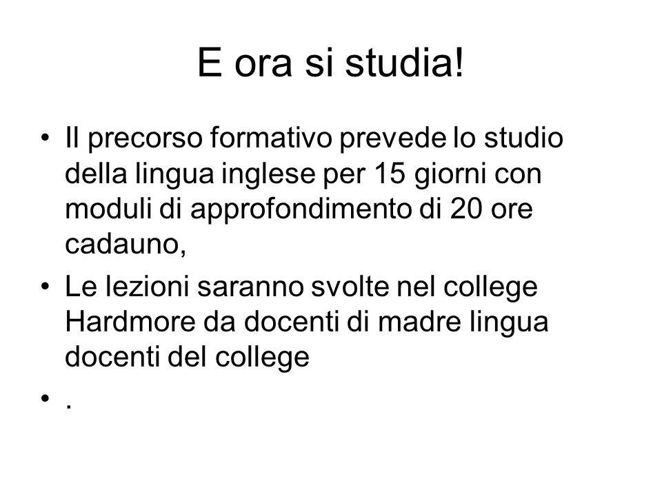 E ora si studia! Il precorso formativo prevede lo studio della lingua inglese per 15 giorni con moduli di approfondimento di 20 ore cadauno, Le lezion