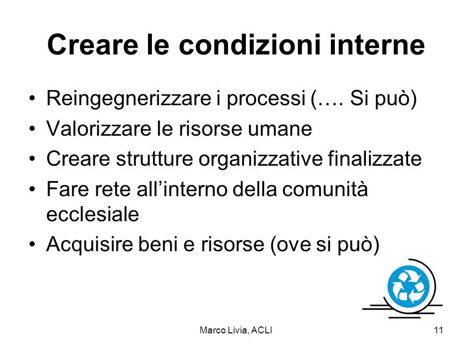 Marco Livia, ACLI11 Creare le condizioni interne Reingegnerizzare i processi (….