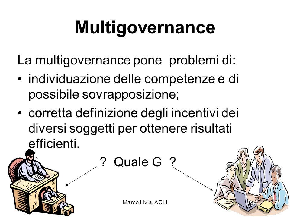 Marco Livia, ACLI13 Multigovernance La multigovernance pone problemi di: individuazione delle competenze e di possibile sovrapposizione; corretta definizione degli incentivi dei diversi soggetti per ottenere risultati efficienti.