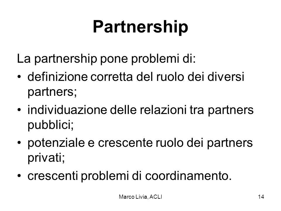 Marco Livia, ACLI14 Partnership La partnership pone problemi di: definizione corretta del ruolo dei diversi partners; individuazione delle relazioni tra partners pubblici; potenziale e crescente ruolo dei partners privati; crescenti problemi di coordinamento.