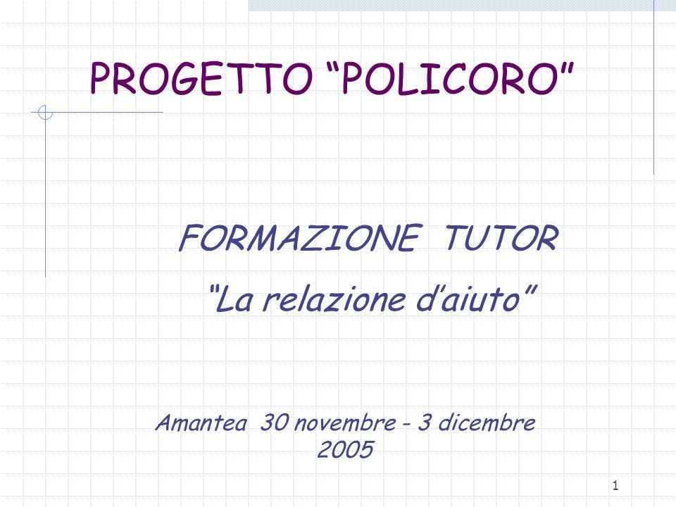 1 PROGETTO POLICORO FORMAZIONE TUTOR La relazione daiuto Amantea 30 novembre - 3 dicembre 2005