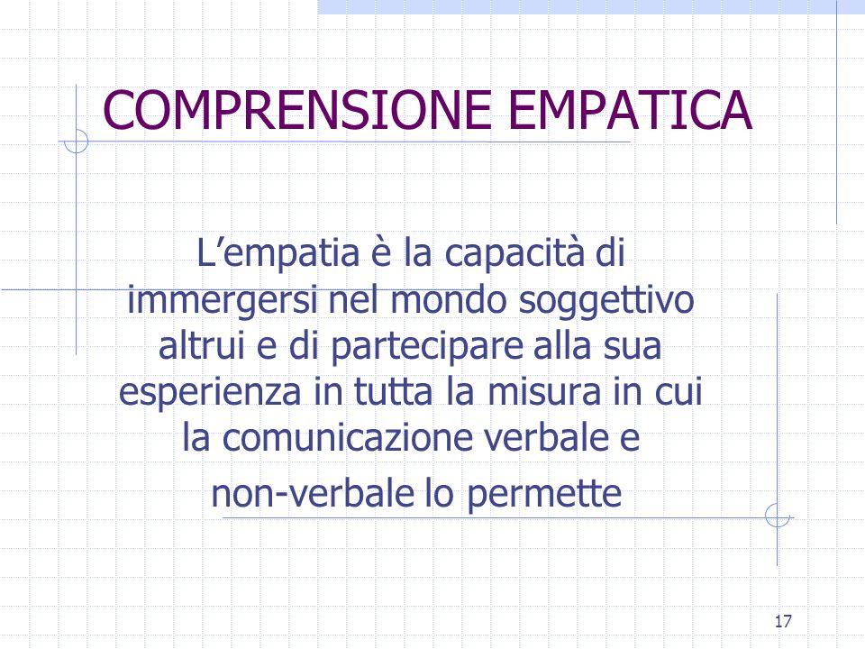 17 COMPRENSIONE EMPATICA Lempatia è la capacità di immergersi nel mondo soggettivo altrui e di partecipare alla sua esperienza in tutta la misura in cui la comunicazione verbale e non-verbale lo permette