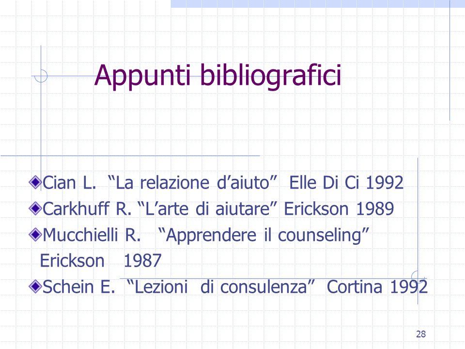 28 Appunti bibliografici Cian L. La relazione daiuto Elle Di Ci 1992 Carkhuff R. Larte di aiutare Erickson 1989 Mucchielli R. Apprendere il counseling