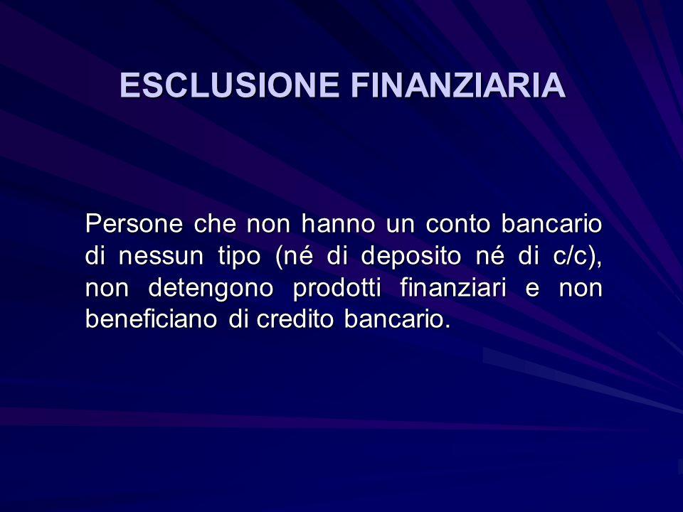 ESCLUSIONE FINANZIARIA Persone che non hanno un conto bancario di nessun tipo (né di deposito né di c/c), non detengono prodotti finanziari e non beneficiano di credito bancario.