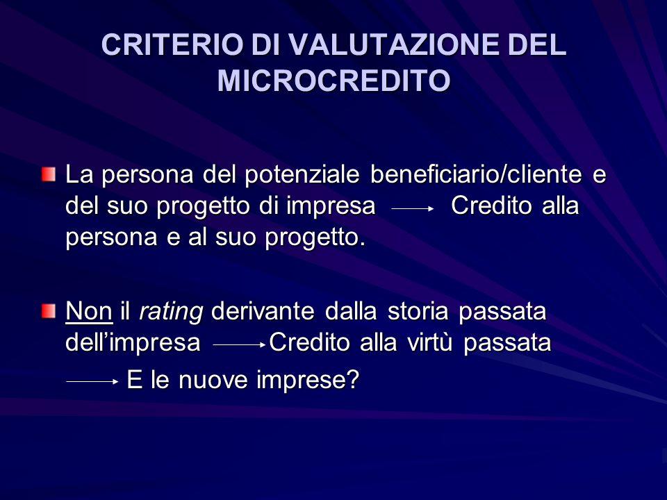 CRITERIO DI VALUTAZIONE DEL MICROCREDITO La persona del potenziale beneficiario/cliente e del suo progetto di impresa Credito alla persona e al suo progetto.