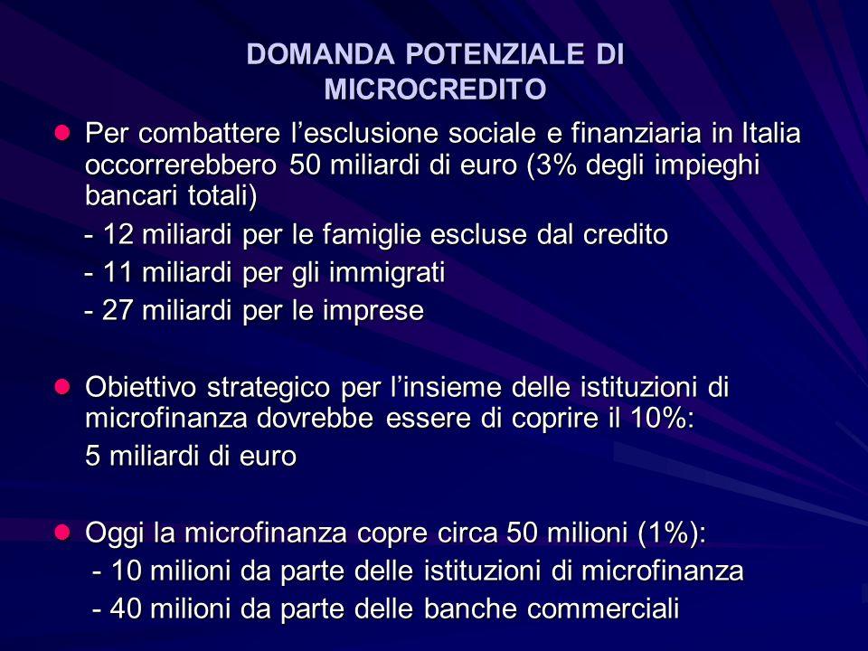 DOMANDA POTENZIALE DI MICROCREDITO Per combattere lesclusione sociale e finanziaria in Italia occorrerebbero 50 miliardi di euro (3% degli impieghi bancari totali) Per combattere lesclusione sociale e finanziaria in Italia occorrerebbero 50 miliardi di euro (3% degli impieghi bancari totali) - 12 miliardi per le famiglie escluse dal credito - 12 miliardi per le famiglie escluse dal credito - 11 miliardi per gli immigrati - 11 miliardi per gli immigrati - 27 miliardi per le imprese - 27 miliardi per le imprese Obiettivo strategico per linsieme delle istituzioni di microfinanza dovrebbe essere di coprire il 10%: Obiettivo strategico per linsieme delle istituzioni di microfinanza dovrebbe essere di coprire il 10%: 5 miliardi di euro Oggi la microfinanza copre circa 50 milioni (1%): Oggi la microfinanza copre circa 50 milioni (1%): - 10 milioni da parte delle istituzioni di microfinanza - 10 milioni da parte delle istituzioni di microfinanza - 40 milioni da parte delle banche commerciali - 40 milioni da parte delle banche commerciali
