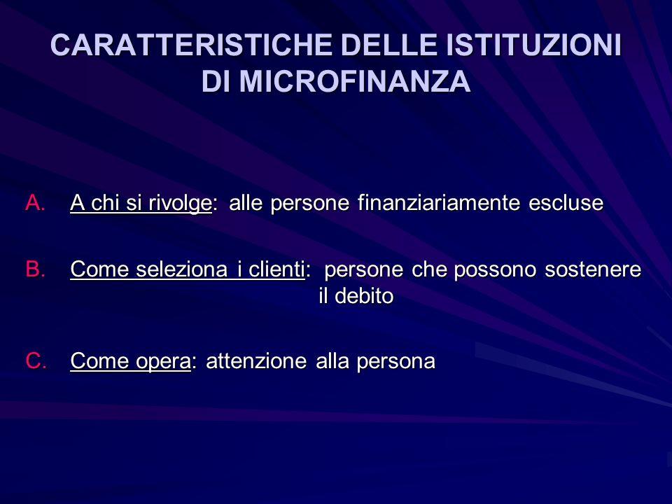 CARATTERISTICHE DELLE ISTITUZIONI DI MICROFINANZA A.A chi si rivolge: alle persone finanziariamente escluse B.Come seleziona i clienti: persone che possono sostenere il debito C.Come opera: attenzione alla persona