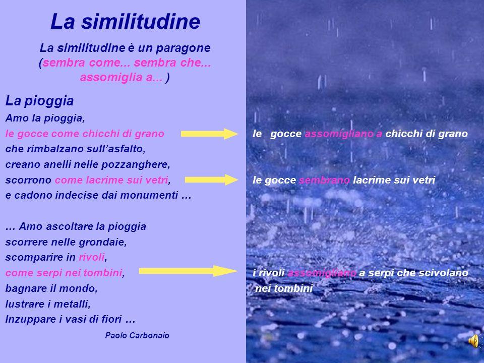 La similitudine La similitudine è un paragone (sembra come... sembra che... assomiglia a... ) La pioggia Amo la pioggia, le gocce come chicchi di gran