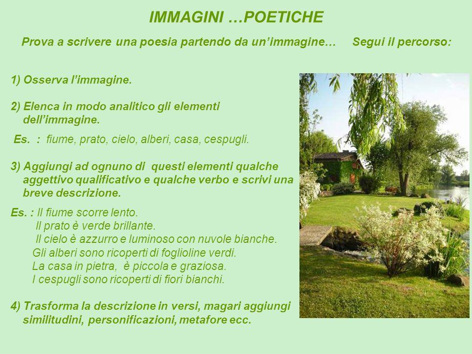 IMMAGINI …POETICHE 1) Osserva limmagine. 2) Elenca in modo analitico gli elementi dellimmagine. Es. : fiume, prato, cielo, alberi, casa, cespugli. 3)