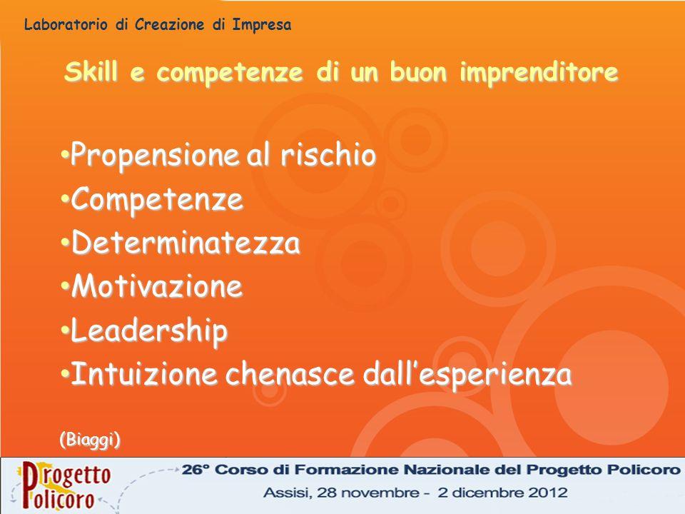 Laboratorio di Creazione di Impresa Skill e competenze di un buon imprenditore Propensione al rischio Propensione al rischio Competenze Competenze Det