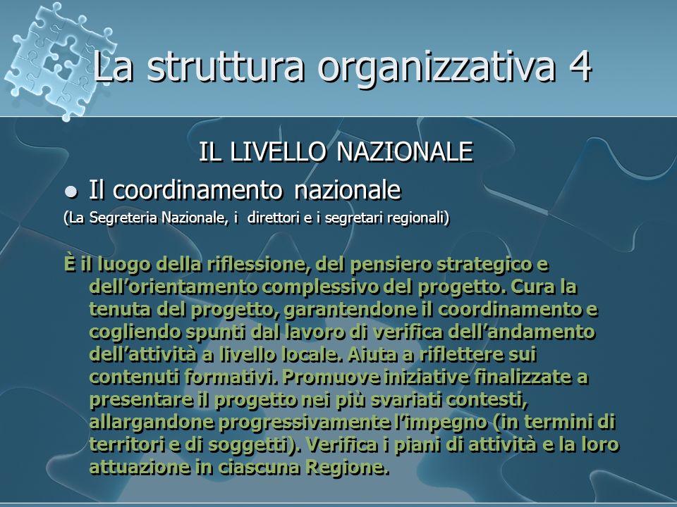 La struttura organizzativa 4 IL LIVELLO NAZIONALE Il coordinamento nazionale (La Segreteria Nazionale, i direttori e i segretari regionali) È il luogo della riflessione, del pensiero strategico e dellorientamento complessivo del progetto.