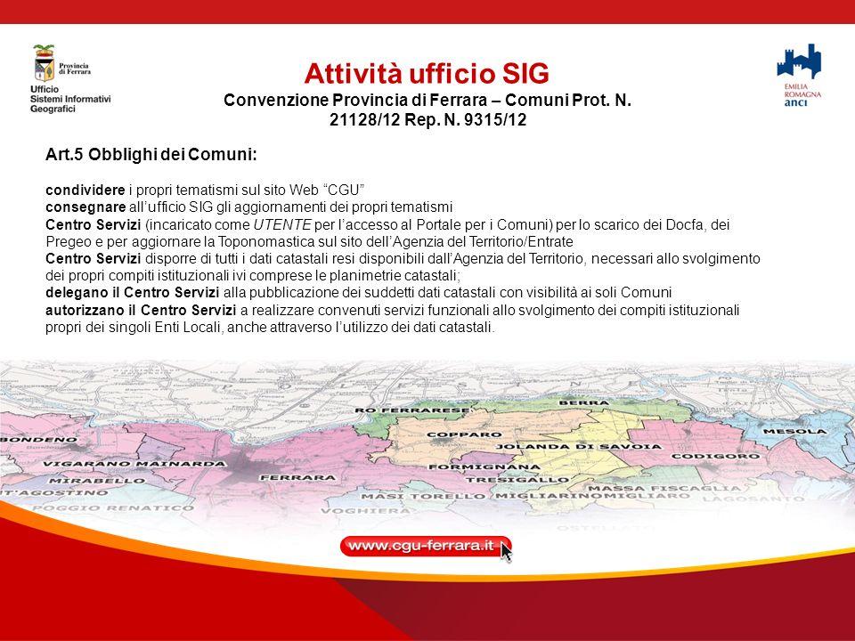 Convenzione Provincia di Ferrara – Comuni Prot. N.