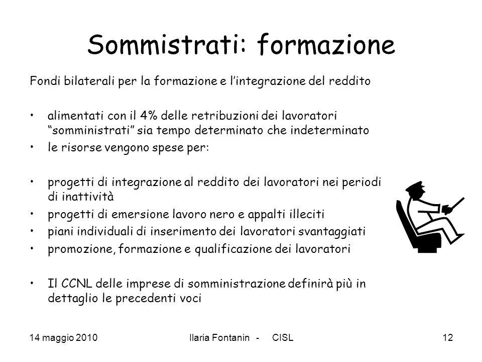 14 maggio 2010Ilaria Fontanin - CISL12 Sommistrati: formazione Fondi bilaterali per la formazione e lintegrazione del reddito alimentati con il 4% del