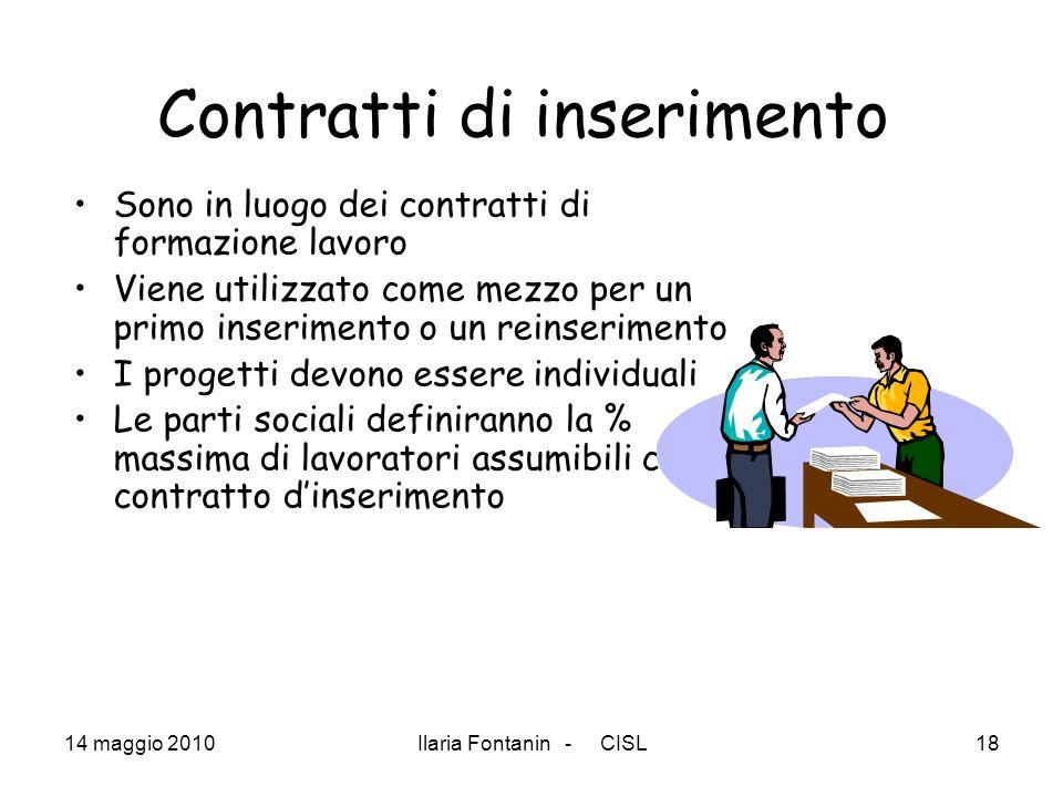 14 maggio 2010Ilaria Fontanin - CISL18 Contratti di inserimento Sono in luogo dei contratti di formazione lavoro Viene utilizzato come mezzo per un pr