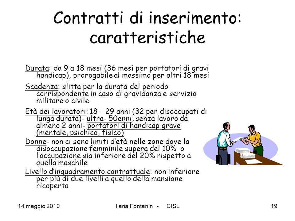 14 maggio 2010Ilaria Fontanin - CISL19 Contratti di inserimento: caratteristiche Durata: da 9 a 18 mesi (36 mesi per portatori di gravi handicap), pro