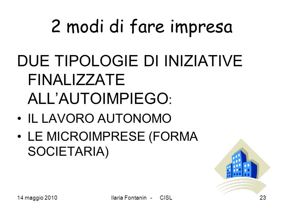 14 maggio 2010Ilaria Fontanin - CISL23 2 modi di fare impresa DUE TIPOLOGIE DI INIZIATIVE FINALIZZATE ALLAUTOIMPIEGO : IL LAVORO AUTONOMO LE MICROIMPR