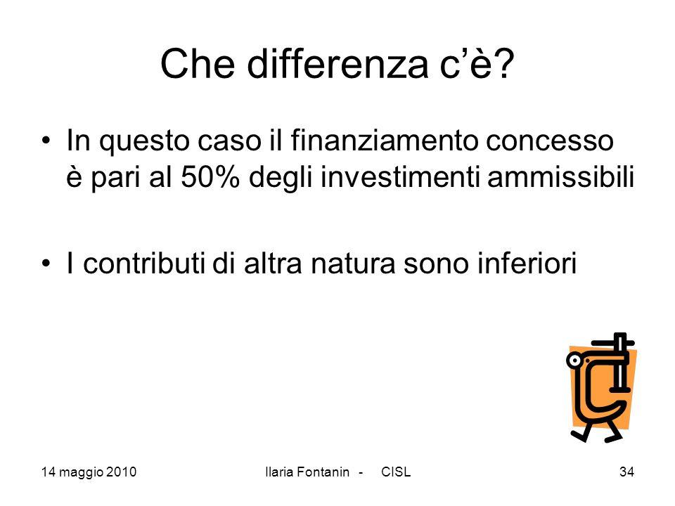 14 maggio 2010Ilaria Fontanin - CISL34 Che differenza cè? In questo caso il finanziamento concesso è pari al 50% degli investimenti ammissibili I cont