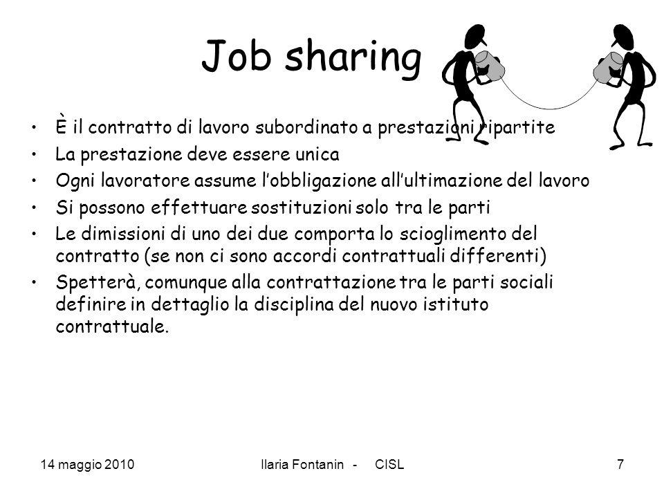 14 maggio 2010Ilaria Fontanin - CISL7 Job sharing È il contratto di lavoro subordinato a prestazioni ripartite La prestazione deve essere unica Ogni l