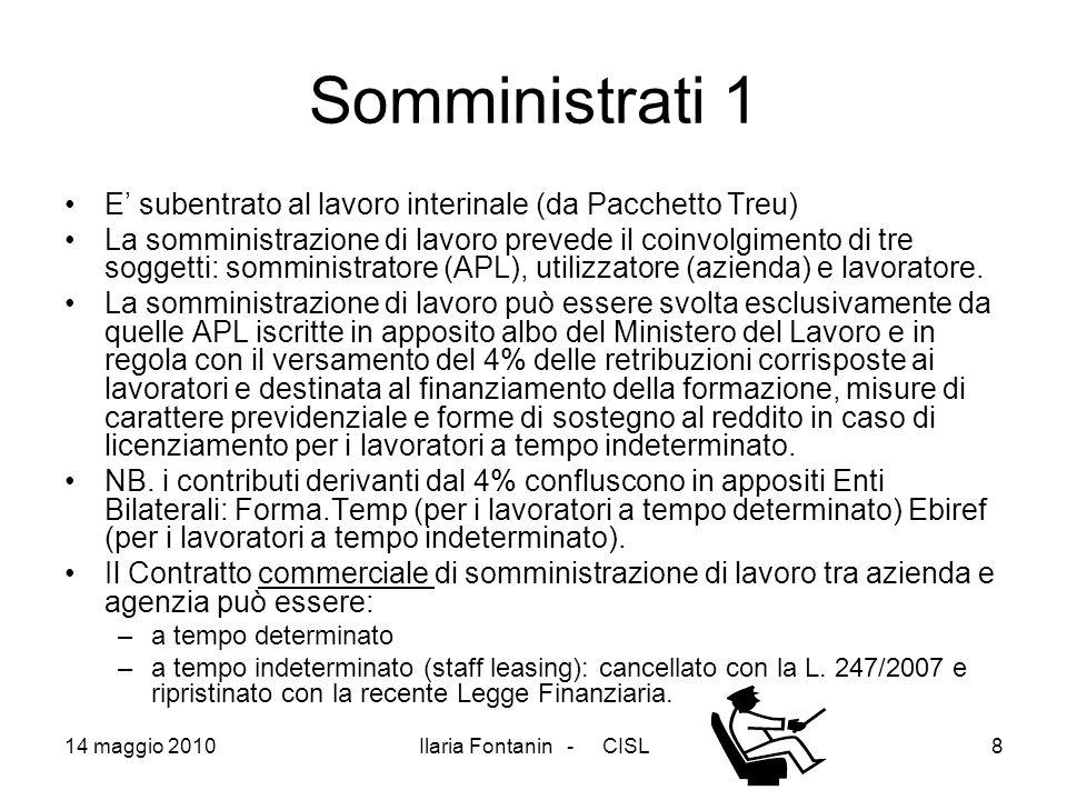 14 maggio 2010Ilaria Fontanin - CISL8 Somministrati 1 E subentrato al lavoro interinale (da Pacchetto Treu) La somministrazione di lavoro prevede il c