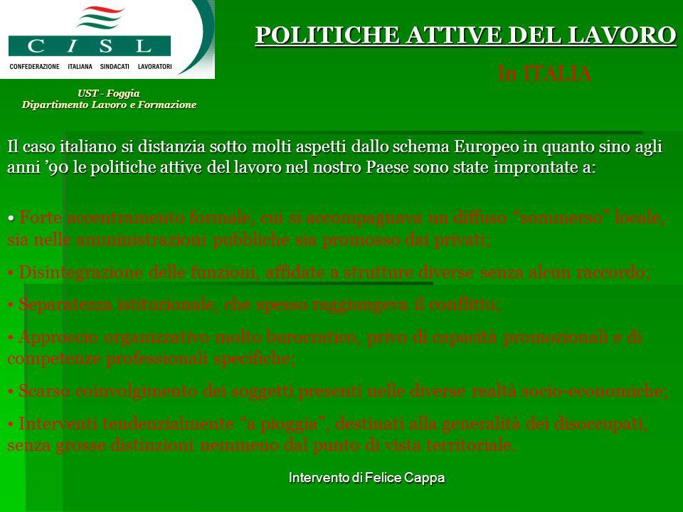 Intervento di Felice Cappa UST - Foggia Dipartimento Lavoro e Formazione POLITICHE ATTIVE DEL LAVORO In ITALIA Il caso italiano si distanzia sotto mol