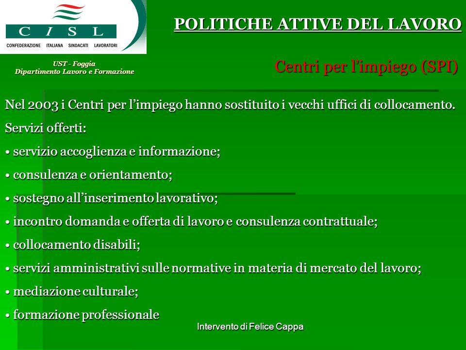 Intervento di Felice Cappa UST - Foggia Dipartimento Lavoro e Formazione POLITICHE ATTIVE DEL LAVORO Centri per limpiego (SPI) Nel 2003 i Centri per l