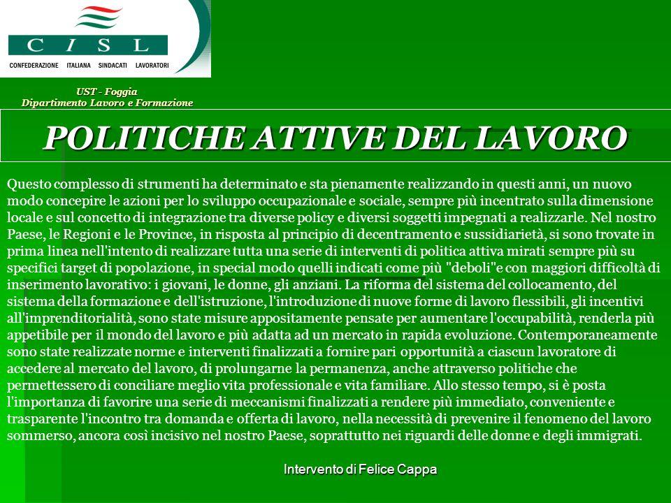 Intervento di Felice Cappa UST - Foggia Dipartimento Lavoro e Formazione POLITICHE ATTIVE DEL LAVORO Tirocinio formativo Cosa è.
