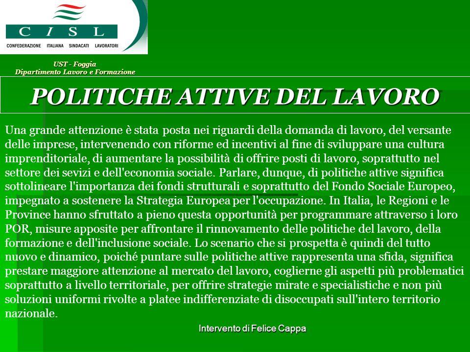 Intervento di Felice Cappa UST - Foggia Dipartimento Lavoro e Formazione POLITICHE ATTIVE DEL LAVORO Cosa è.