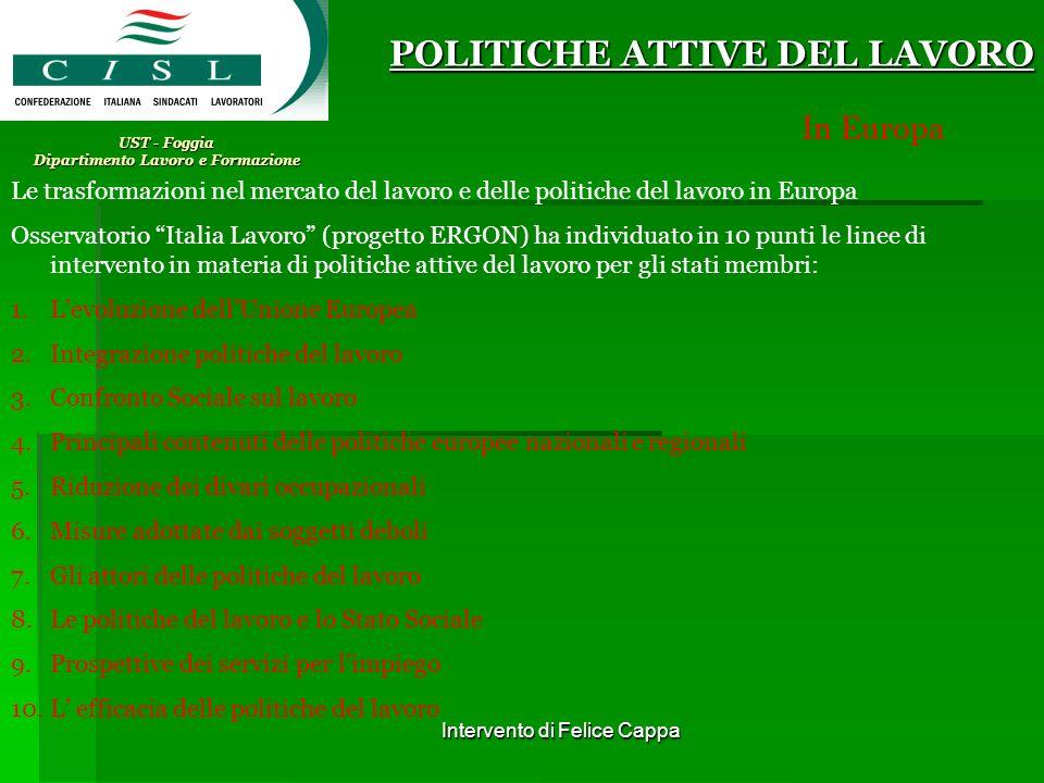 Intervento di Felice Cappa UST - Foggia Dipartimento Lavoro e Formazione Contratto di inserimento POLITICHE ATTIVE DEL LAVORO Cosa è.