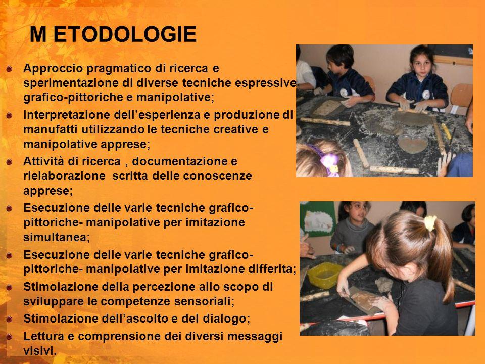 M ETODOLOGIE Approccio pragmatico di ricerca e sperimentazione di diverse tecniche espressive grafico-pittoriche e manipolative; Interpretazione delle