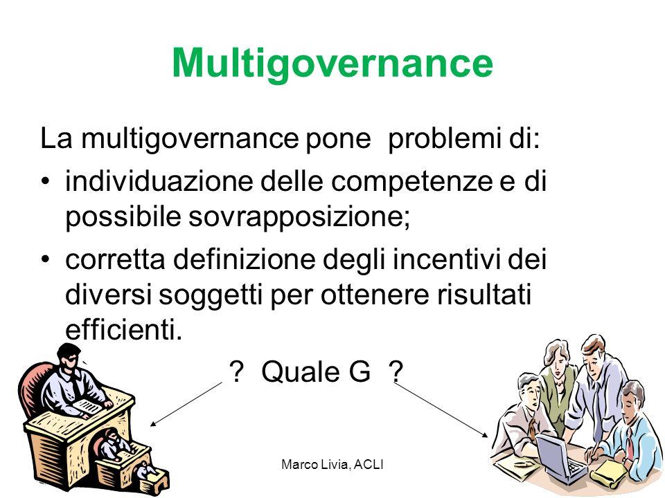 Marco Livia, ACLI17 Multigovernance La multigovernance pone problemi di: individuazione delle competenze e di possibile sovrapposizione; corretta definizione degli incentivi dei diversi soggetti per ottenere risultati efficienti.