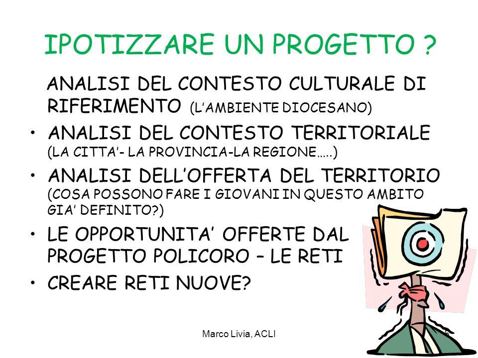 Marco Livia, ACLI5 IPOTIZZARE UN PROGETTO .