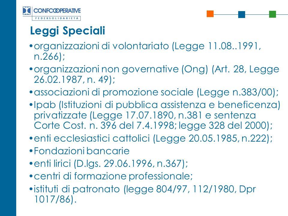 Leggi Speciali organizzazioni di volontariato (Legge 11.08..1991, n.266); organizzazioni non governative (Ong) (Art. 28, Legge 26.02.1987, n. 49); ass