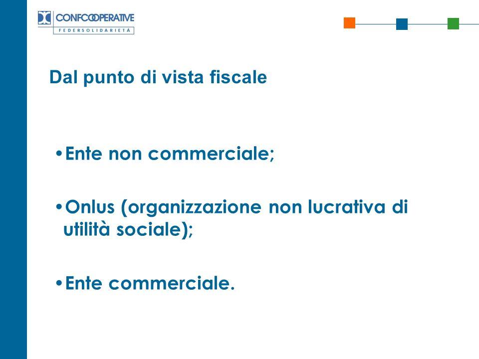 Dal punto di vista fiscale Ente non commerciale; Onlus (organizzazione non lucrativa di utilità sociale); Ente commerciale.