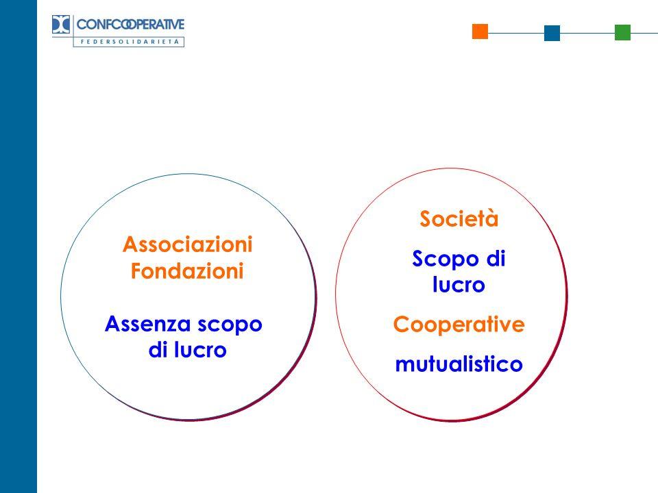 Associazioni Fondazioni Assenza scopo di lucro Associazioni Fondazioni Assenza scopo di lucro Società Scopo di lucro Cooperative mutualistico