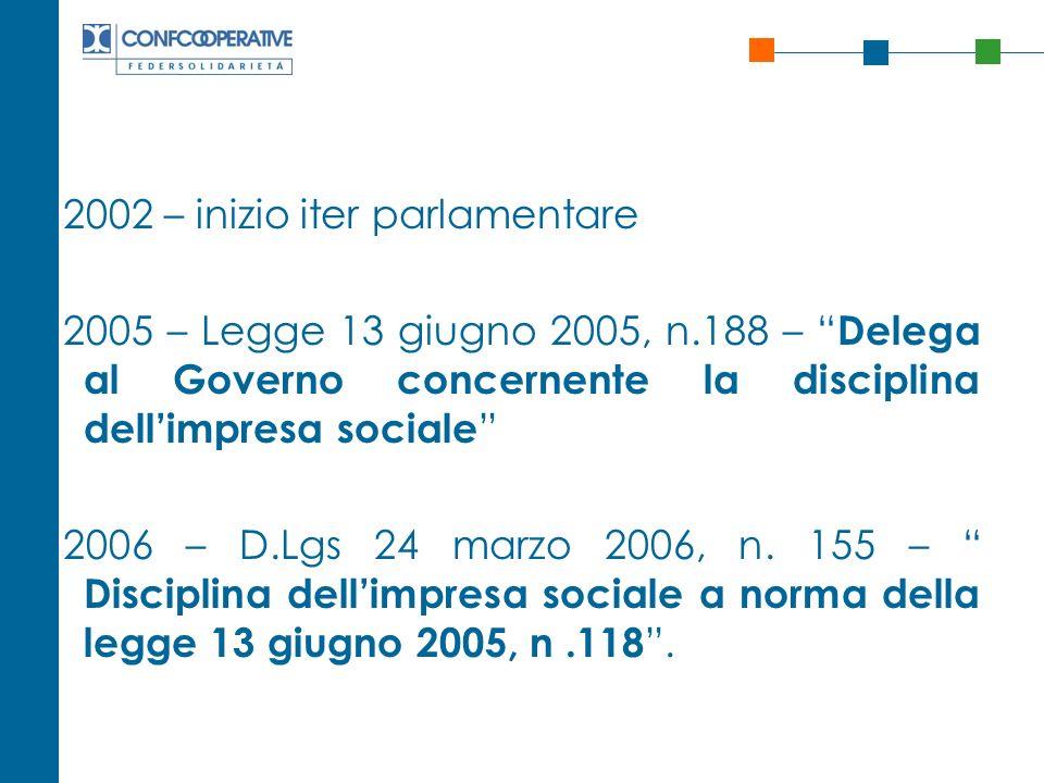 2002 – inizio iter parlamentare 2005 – Legge 13 giugno 2005, n.188 – Delega al Governo concernente la disciplina dellimpresa sociale 2006 – D.Lgs 24 m
