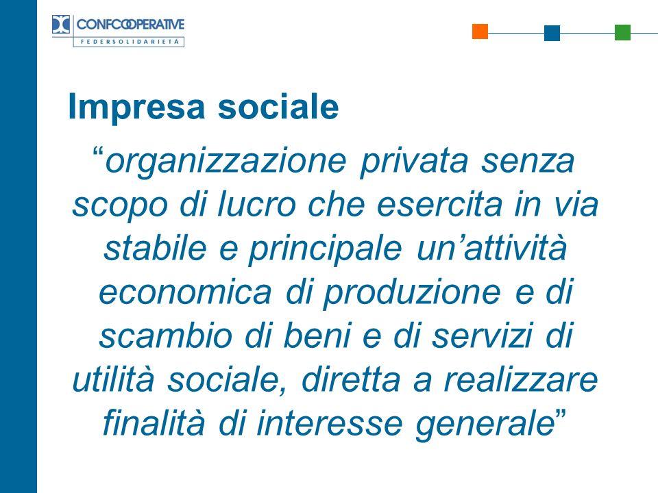 Impresa sociale organizzazione privata senza scopo di lucro che esercita in via stabile e principale unattività economica di produzione e di scambio d