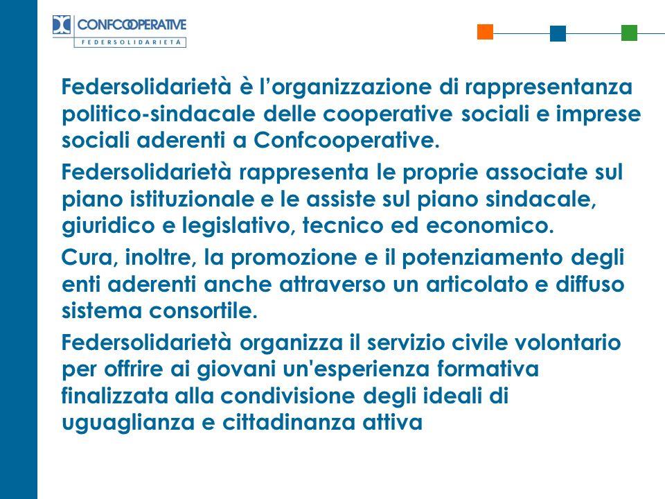 Federsolidarietà è lorganizzazione di rappresentanza politico-sindacale delle cooperative sociali e imprese sociali aderenti a Confcooperative. Feders