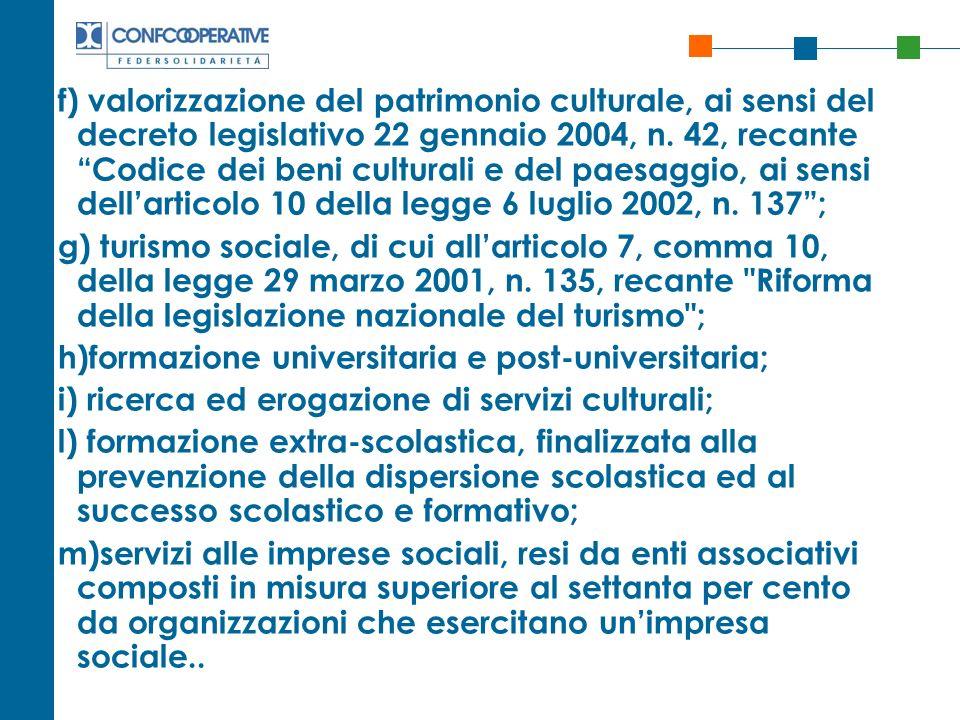 f) valorizzazione del patrimonio culturale, ai sensi del decreto legislativo 22 gennaio 2004, n. 42, recante Codice dei beni culturali e del paesaggio