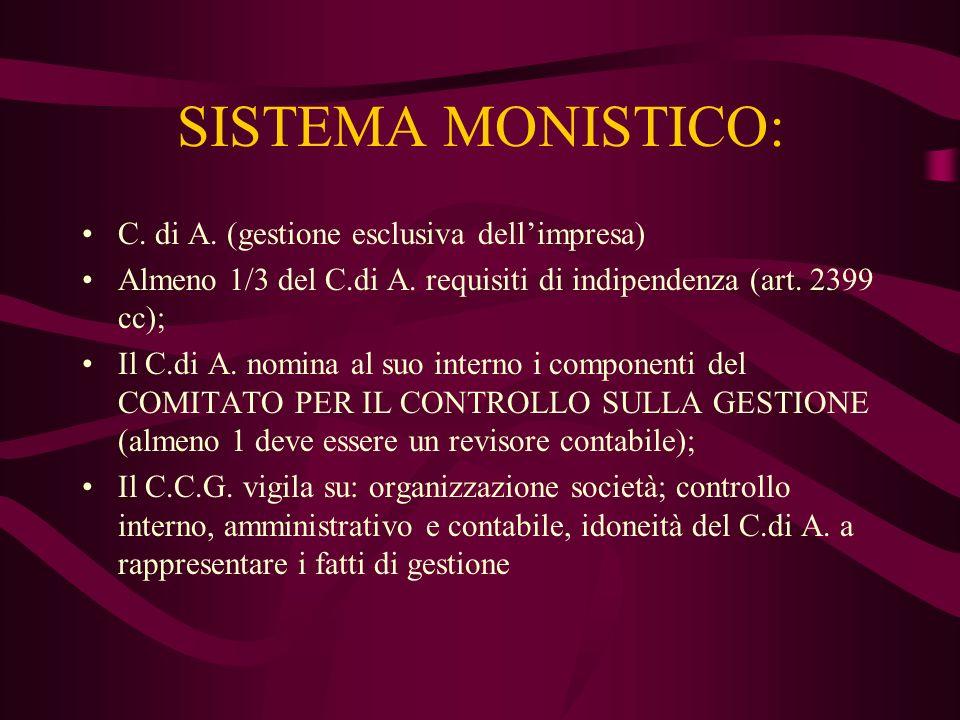 SISTEMA MONISTICO: C. di A. (gestione esclusiva dellimpresa) Almeno 1/3 del C.di A. requisiti di indipendenza (art. 2399 cc); Il C.di A. nomina al suo