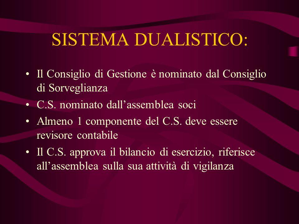 SISTEMA DUALISTICO: Il Consiglio di Gestione è nominato dal Consiglio di Sorveglianza C.S. nominato dallassemblea soci Almeno 1 componente del C.S. de