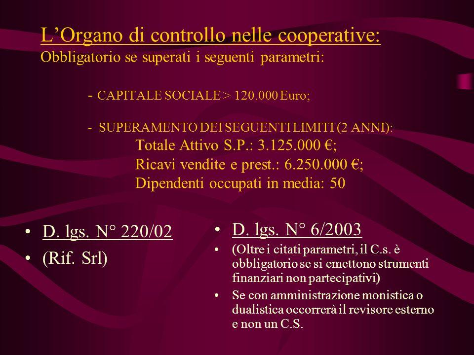 LOrgano di controllo nelle cooperative: Obbligatorio se superati i seguenti parametri: - CAPITALE SOCIALE > 120.000 Euro; - SUPERAMENTO DEI SEGUENTI L