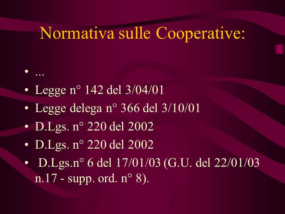 Normativa sulle Cooperative:... Legge n° 142 del 3/04/01 Legge delega n° 366 del 3/10/01 D.Lgs. n° 220 del 2002 D.Lgs.n° 6 del 17/01/03 (G.U. del 22/0
