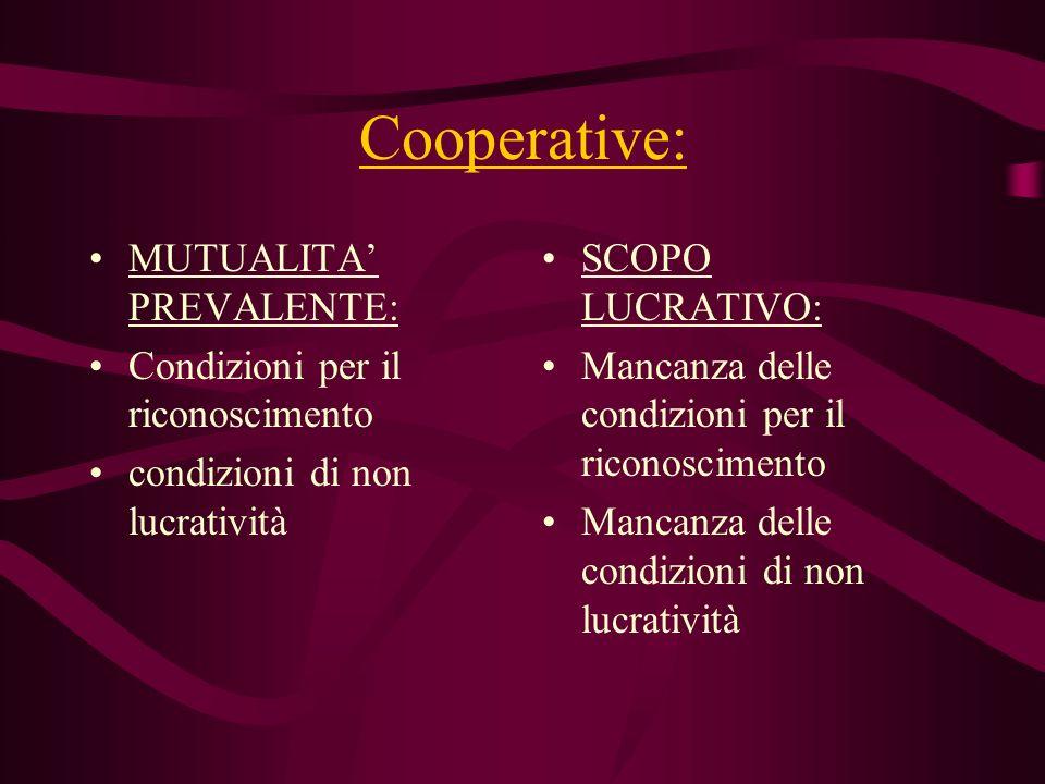Cooperative: MUTUALITA PREVALENTE: Condizioni per il riconoscimento condizioni di non lucratività SCOPO LUCRATIVO: Mancanza delle condizioni per il ri