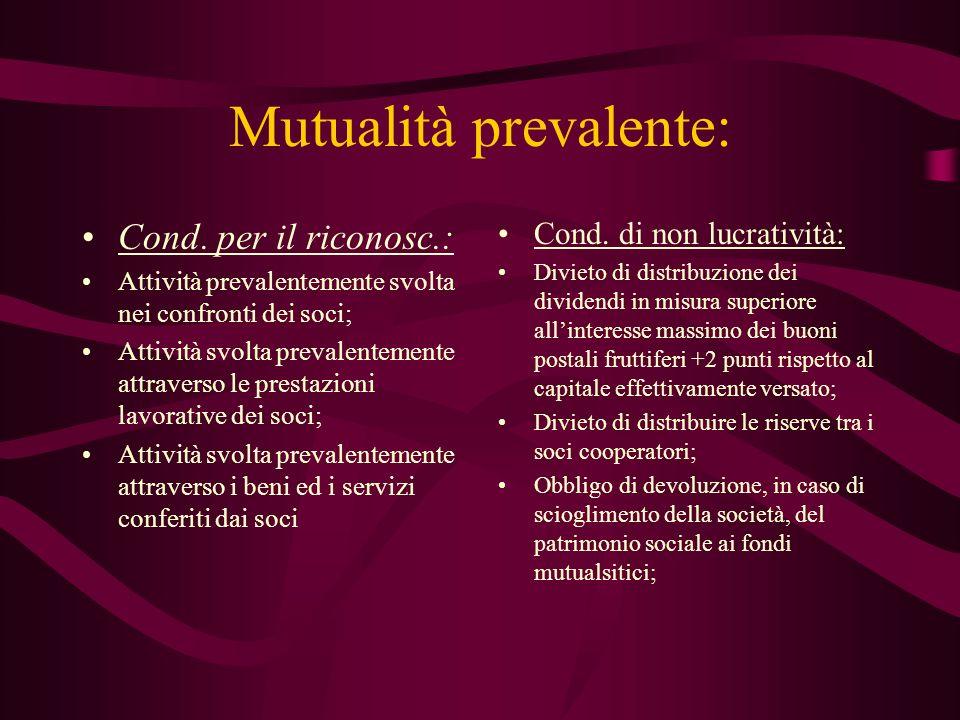 Mutualità prevalente: Cond. per il riconosc.: Attività prevalentemente svolta nei confronti dei soci; Attività svolta prevalentemente attraverso le pr