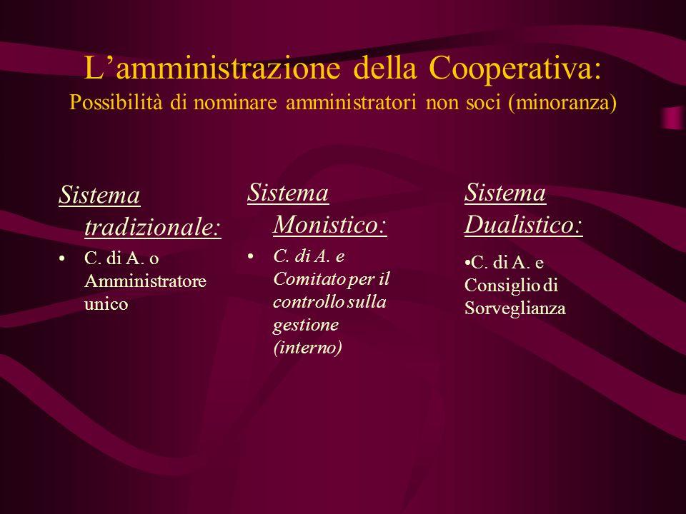 Lamministrazione della Cooperativa: Possibilità di nominare amministratori non soci (minoranza) Sistema tradizionale: C. di A. o Amministratore unico