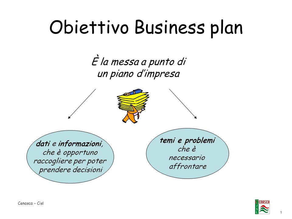 1 Cenasca - Cisl Obiettivo Business plan dati e informazioni, che è opportuno raccogliere per poter prendere decisioni temi e problemi che è necessari