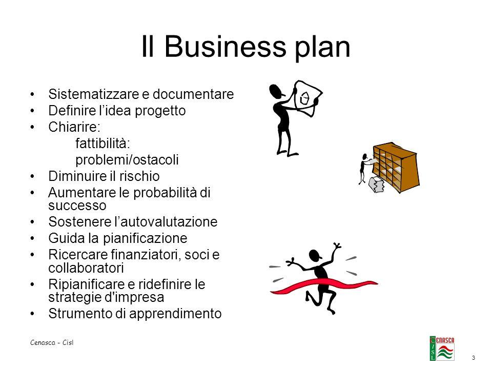 3 Cenasca - Cisl Il Business plan Sistematizzare e documentare Definire lidea progetto Chiarire: fattibilità: problemi/ostacoli Diminuire il rischio A